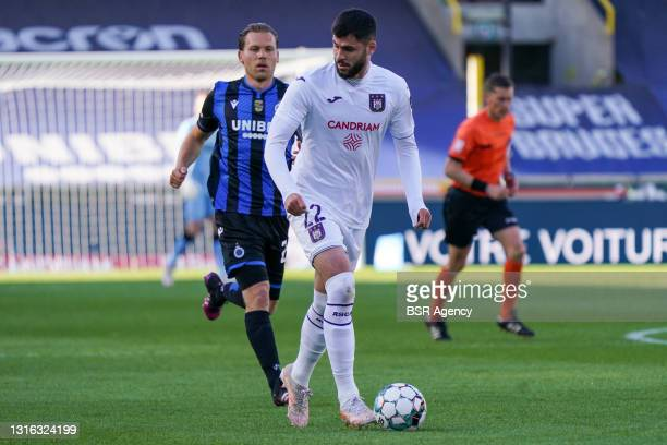 Ruud Vormer of Club Brugge and Elias Cobbaut of RSC Anderlecht during the Jupiler Pro League Championship Play-Offs match between Club Bruges and...