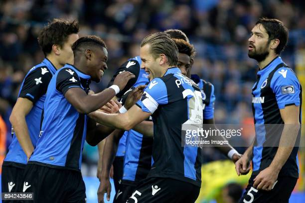 Ruud Vormer of Club Brugge celebrates 10 with Abdoulay Diaby of Club Brugge Benoit Poulain of Club Brugge during the Belgium Pro League match between...