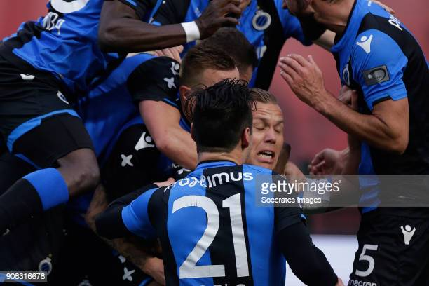 Ruud Vormer of Club Brugge celebrates 22 with teammates during the Belgium Pro League match between Royal Antwerp v Club Brugge at the Bosuil Stadium...
