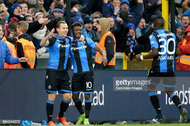Ruud Vormer of Club Brugge celebrates 30 with Abdoulay Diaby of Club Brugge Marvelous Nakamba of Club Brugge during the Belgium Pro League match...