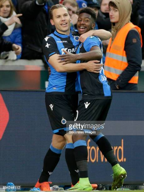Ruud Vormer of Club Brugge celebrates 30 with Abdoulay Diaby of Club Brugge during the Belgium Pro League match between Club Brugge v Anderlecht at...