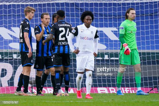 Ruud Vormer of Club Brugge celebrates after scoring his sides first goal with Charles De Ketelaere of Club Brugge, Stefano Denswil of Club Brugge and...