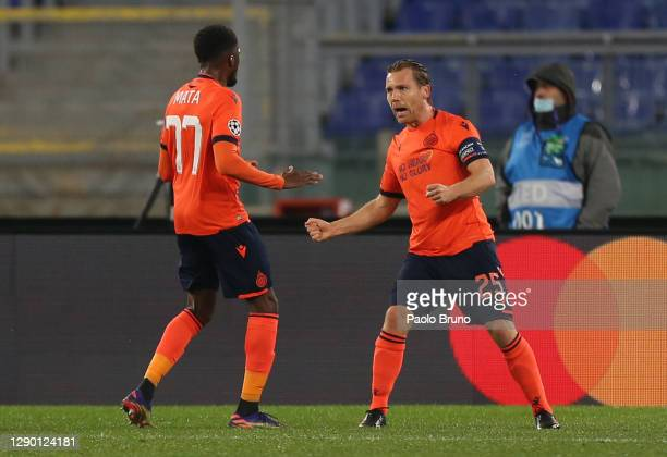 Ruud Vormer of Club Brugge celebrates with teammate Clinton Mata after scoring their team's first goalduring the UEFA Champions League Group F stage...