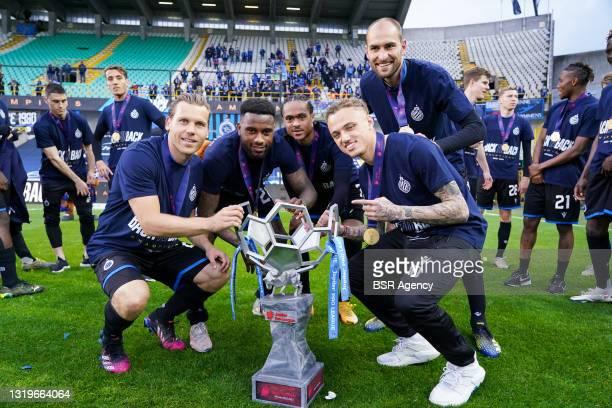 Ruud Vormer of Club Brugge, Stefano Denswil of Club Brugge, Tahith Chong of Club Brugge, Noa Lang of Club Brugge and Bas Dost of Club Brugge during...