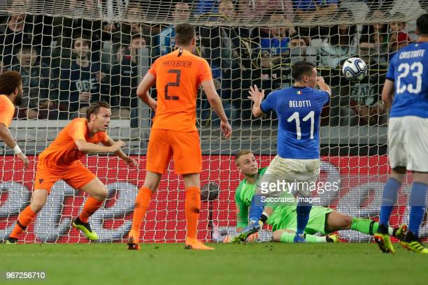 Ruud Vormer of Holland Jasper Cillessen of Holland Andrea Belotti of Italy during the International Friendly match between Italy v Holland at the...