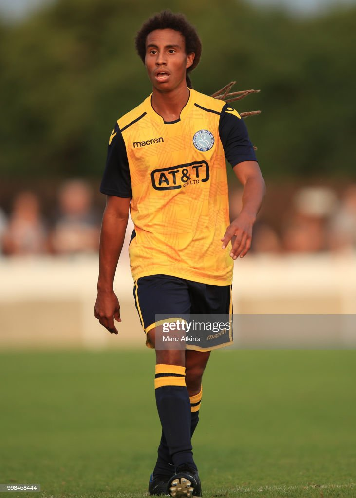 Ruudi Clarke of Staines Town during the Pre-Season Friendly between Staines Town and Queens Park Rangers at Wheatsheaf Park on July 13, 2018 in Staines, England.