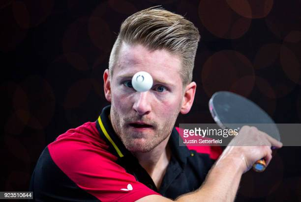 Ruwen Filus of Germany serves during the ITTF Team World Cup Table Tennis at Copper Box Arena on February 23 2018 in London England