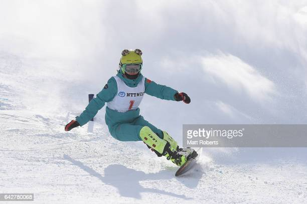 Ruxin Zang of China competes in Women's Giant Slalom on day two of the 2017 Sapporo Asian Winter Games at Sapporo Teine on February 19, 2017 in...