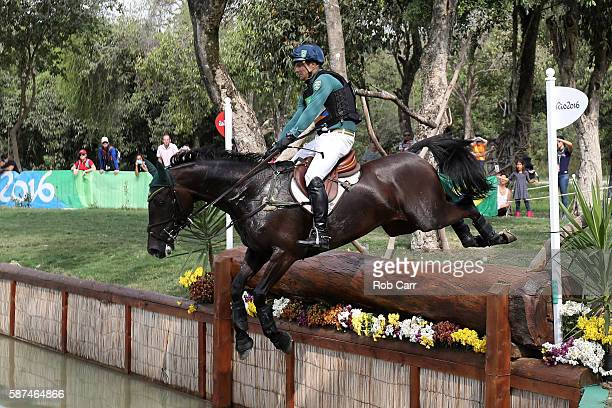 Ruy Fonseca of Brazil riding Tom Bombadill Too clears a jump during the Cross Country Eventing on Day 3 of the Rio 2016 Olympic Games at the Olympic...