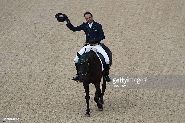 Ruy Fonseca of Brazil riding Tom Bombadill Too competes in the Eventing Team Dressage event during equestrian on Day 2 of the Rio 2016 Olympic Games...