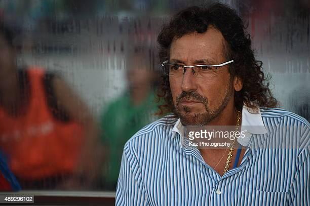 Ruy Ramos coach of FC Gifu during the JLeague 2nd division match between FC Gifu and Oita Trinita at the Gifu Nagaragawa Stadium on September 20 2015...