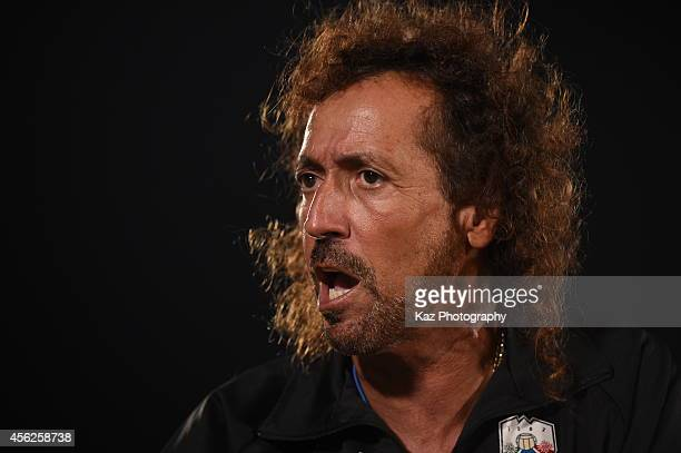 Ruy Ramos manager of FC Gifu is frustrated during the J League second division match between FC Gifu and Shonan Bellmare at BMW Stadium Hiratsuka on...