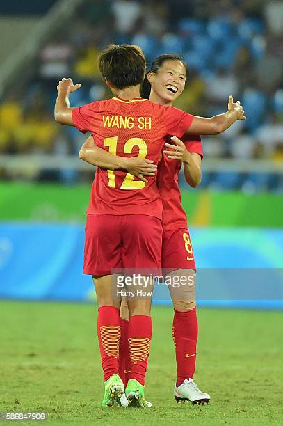 Ruyin Tan of China celebrates her goal during the Women's Group E first round match between South Africa and China PR on Day 1 of the Rio 2016...