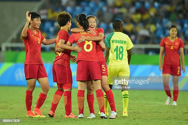 Ruyin Tan of China celebrates her goal with her teammates during the Women's Group E first round match between South Africa and China PR on Day 1 of...