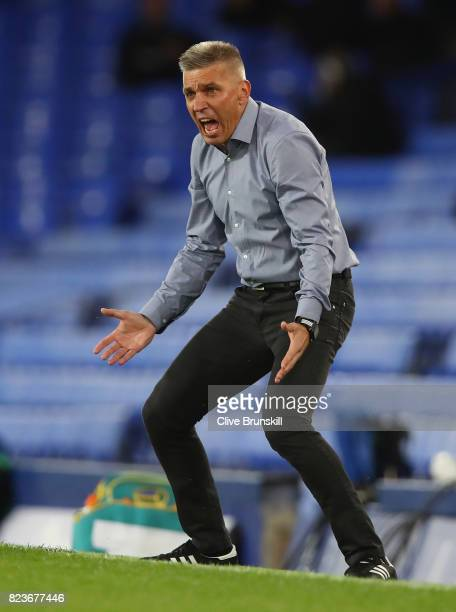 Ruzomberok manager Norbert Hrncar shows his emotions during the UEFA Europa League Third Qualifying Round First Leg match between Everton and MFK...