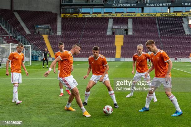 Ruzomberok team warms up prior the UEFA Europa League qualification match between Servette FC and MFK Ruzomberok at Stade de Geneve on August 27,...