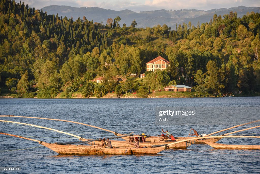 anglers on board outrigger canoes on Lake Kivu, one of the African Great Lakes.