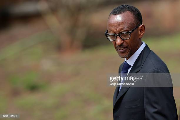 Rwanda President Paul Kagame arrives for a ceremony at the Kigali Genocide Memorial Center on April 7 2014 in Kigali Rwanda Rwanda is commemorating...