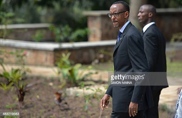 Rwanda President Paul Kagame arrives to lay a wreath of flowers at the the Gizosi Genocide Memorial in Kigali on April 7 2014 Solemn commemorations...