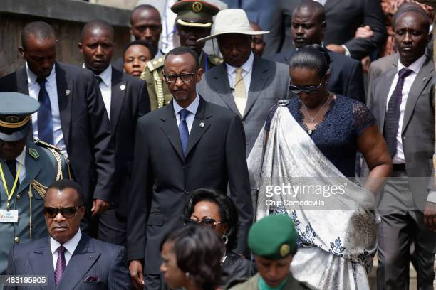 Rwanda President Paul Kagame first lady Jeannette Kagame CongoBrazzaville President Denis Sassou Nguesso Uganda President Yoweri Museveni and other...