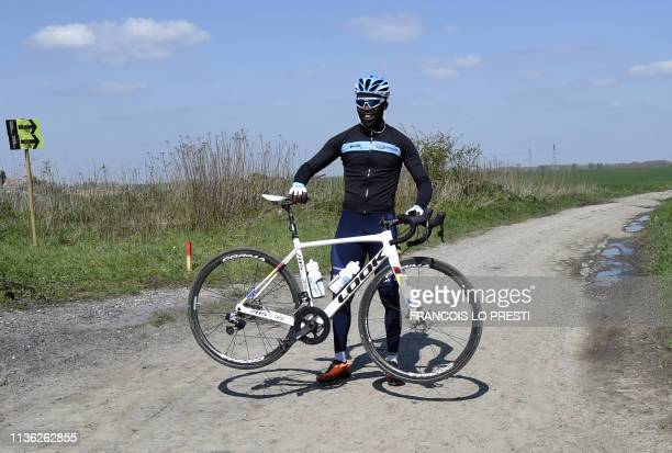 Rwandan cyclist Joseph Areruya of DelkoMarseille ProvenceKTM French team poses for a photograph in Haveluy near Wallers northern France on April 11...