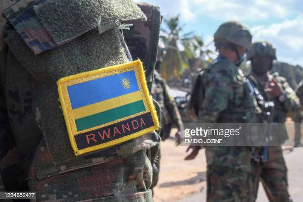 Rwandan flag is seen on the shoulder patch of a soldier in Mocimboa da Praia, northern Mozambique, on August 12, 2021. - Apart from a few soldiers on...