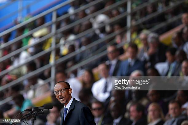 Rwandan President Paul Kagame addresses the commemoration of the 20th anniversary of his country's genocide at Amahoro Stadium April 7 2014 in Kigali...