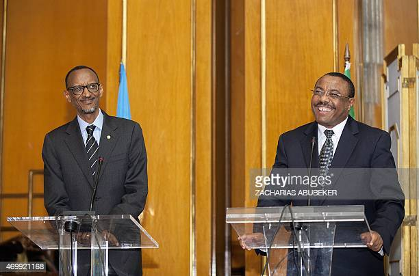 Rwandan President Paul Kagame amd Ethiopian Prime Minister Hailemariam Desalegn hold a press conference at the National Palace in Addis Ababa...