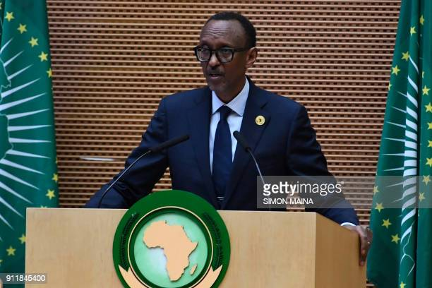 Rwandan President Paul Kagame and Chairperson of the African Union gives his remarks during the closing ceremony of the 30th Ordinary Session of the...
