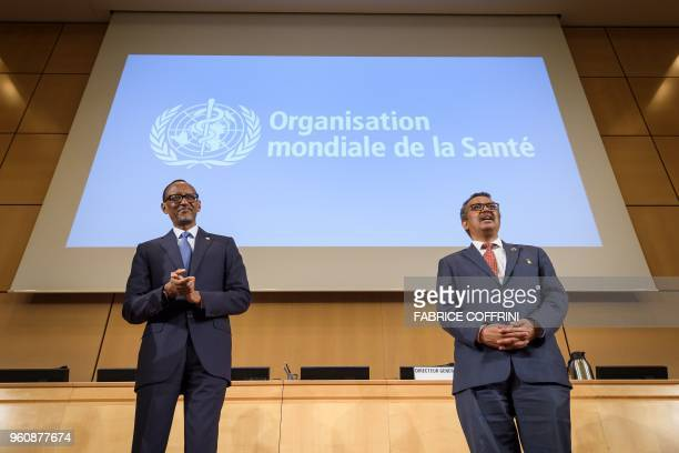 Rwandan President Paul Kagame and World Health Organization DirectorGeneral Tedros Adhanom Ghebreyesus attends the opening day of the World Health...