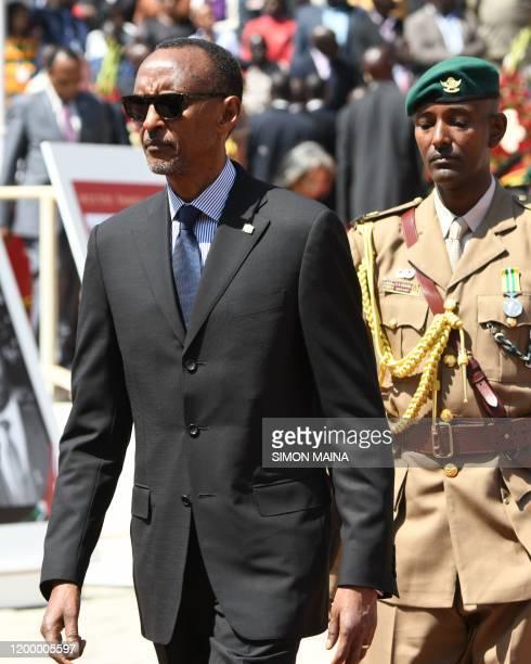 Rwandan President Paul Kagame arrive for the funeral service of former Kenya president Daniel Arap Moi in Nairobi on February 11 2020 Moi whose...