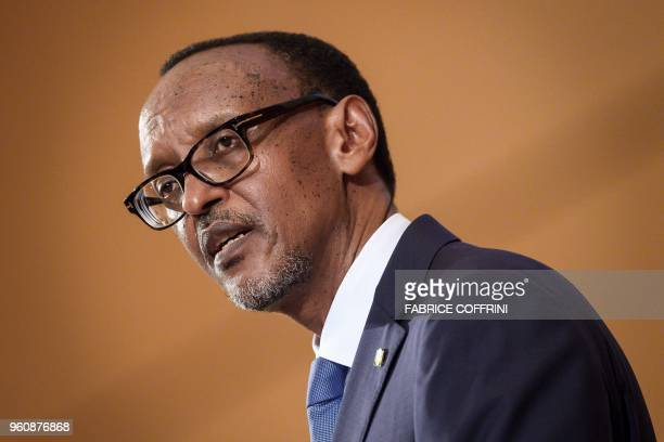 Rwandan President Paul Kagame attends the opening day of the World Health Organization's Assembly an annual meeting with health representatives to...