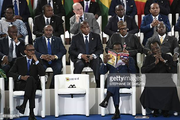 Rwandan President Paul Kagame Equatorial Guinea's president Teodoro Obiang Nguema and Chad's President Idriss Deby attend the 27th AfricaFrance...