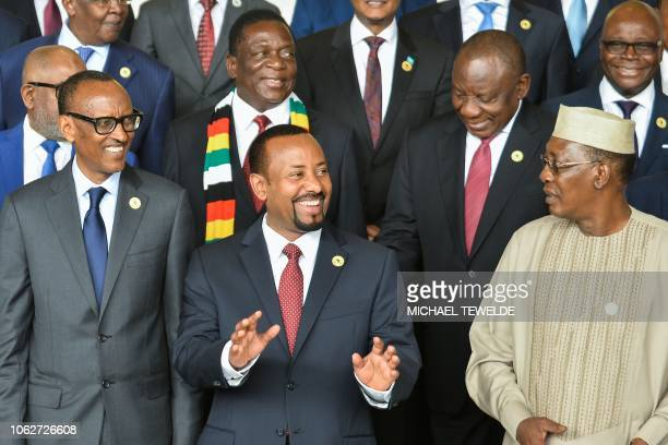 Rwandan President Paul Kagame Ethiopia Prime Minister Abiy Ahmed and Chadian President Idris Deby pose on November 17 2018 with South African...