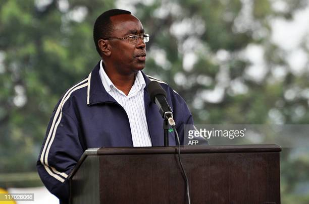 Rwandan Prime Minister Bernard Makuza addresses approximately 2000 villagers officials and tourists at Rwanda's 7th Annual Kwita Izina Ceremony for...