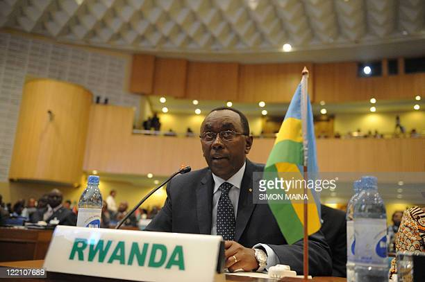 Rwandan Prime Minister Bernard Makuza attends the Pledging Conference for the Horn of Africa on August 25 2011 at the UN complex in Addis Ababa...