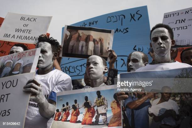 Rwandan refugees those who live in Israel stage a demonstration after Israeli authorities' decision on deportation of refugees in front of Rwanda...