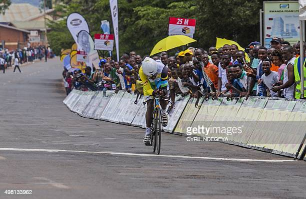 Rwanda's cycling racer Jean Bosco Nsengimana wins the first stage of the 7th Tour of Rwanda in Kigali on November 15, 2015. The Rwanda Cycling...