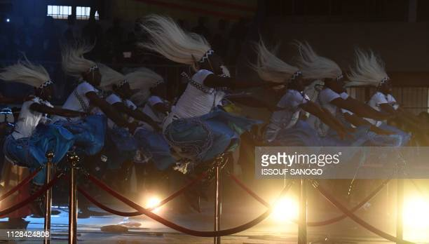 Rwanda's dancers perform during the closing ceremony of the 26th Pan-African Film and Television Festival at the Sports Palace in Ouagadougou on...