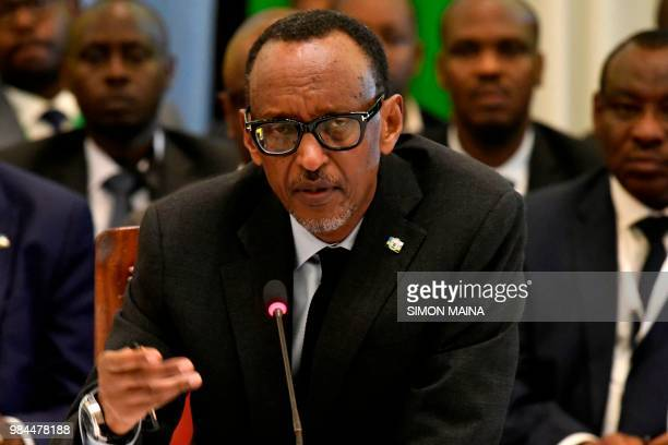 Rwanda's President Paul Kagame gestures as he speaks during the 14th Summit of the Northern Corridor Integration Projects in Nairobi on June 26 2018...
