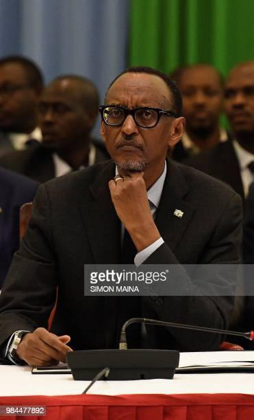 Rwanda's President Paul Kagame looks on during the 14th Summit of the Northern Corridor Integration Projects in Nairobi on June 26 2018 The NCIP is a...