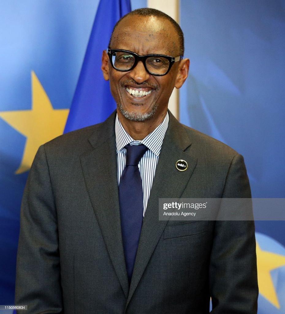 Rwanda's President Paul Kagame in Brussels : News Photo