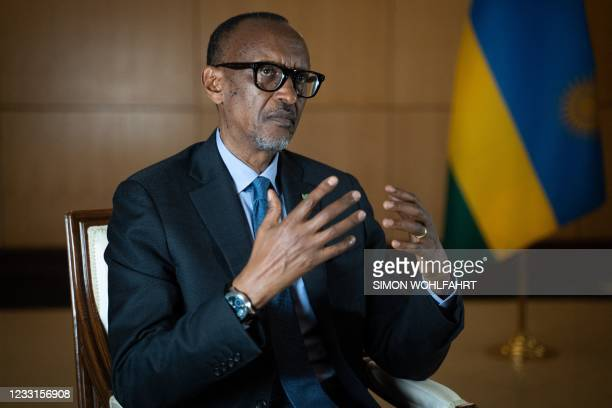 Rwanda's President Paul Kagame speaks during an interview with international media at the presidency office in Kigali, on May 28, 2021.