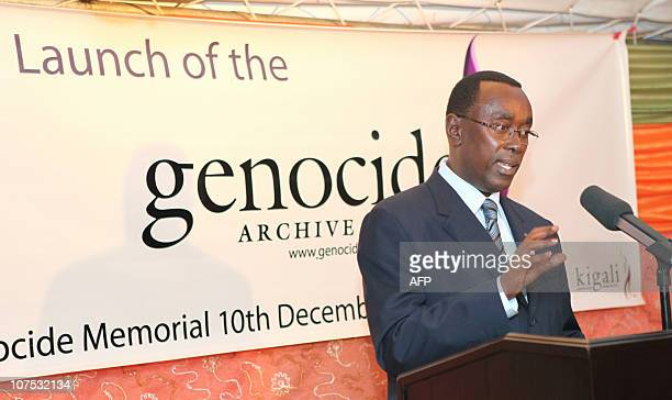 Rwanda's Prime Minister Bernard Makuza speaks during the launch of a state genocide archive in Kigali on December 10 2010 A state genocide archive...