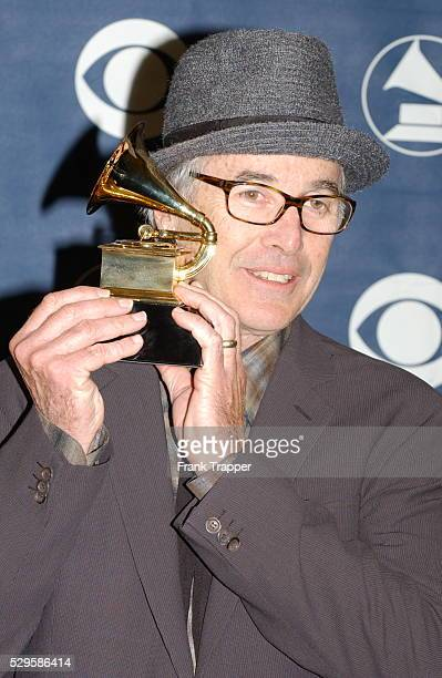 Ry Cooder in the press room with his award for Best Pop Instrumental Album at the 46th annual Grammy Awards