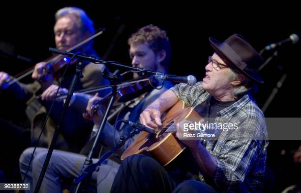 Ry Cooder performs on stage with the The Chieftains as part of the Celtic Connections festival at Glasgow Royal Concert Hall on January 26 2010 in...