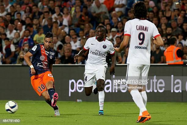 Ryad Boudebouz Blaise Matuidi and Edinson Cavani battle for the ball during the French Ligue 1 match between Paris Saint Germain and Montpeller...