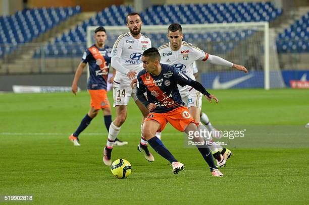 <Ryad Boudebouz in action during the L1 game between Montpellier and Lyon> at Stade de la Mosson on April 8 2016 in Montpellier France