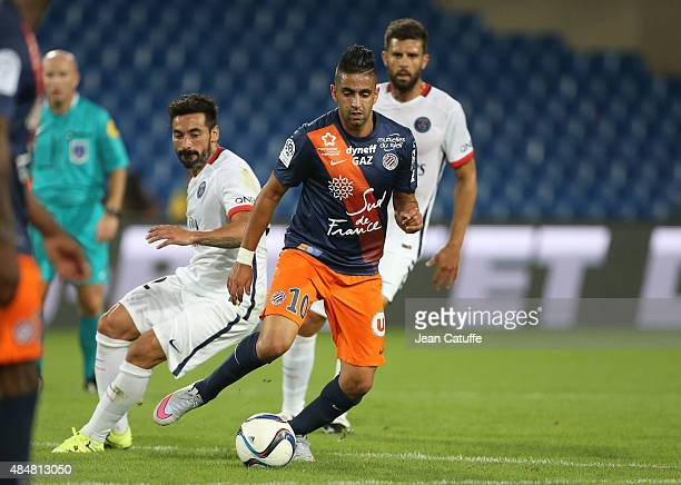 Ryad Boudebouz of Montpellier in action during the French Ligue 1 match between Montpellier Herault SC v Paris SaintGermain at Stade de la Mosson on...