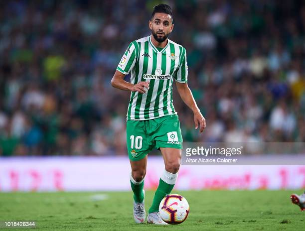 Ryad Boudebouz of Real Betis Balompie in action during the La Liga match between Real Betis Balompie and Levante UD at Estadio Benito Villamarin on...